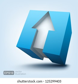Vector illustration of 3d cube with arrow, logo design