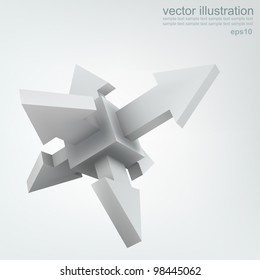 Vector illustration 3d cube with arrows, logo design