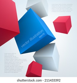 Vector illustration of 3d cubes. Background design for banner, poster, flyer, cover, brochure.
