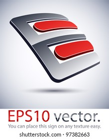 """Vector illustration of 3D """"E"""" letter abstract business symbol."""