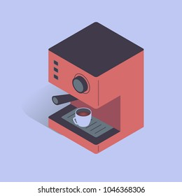 Vector illustration with 3D electric coffee machine. Coffee equipment in isometric flat style on blue background