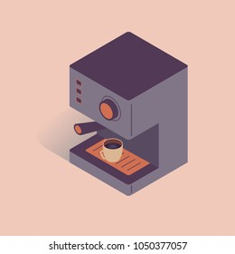 Vector illustration with 3D electric coffee machine. Coffee equipment in isometric flat style on pink background