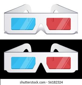 vector illustration of 3d glasses