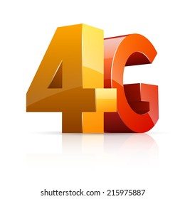 Vector illustration of 3D glossy 4G icon isolated on white background.