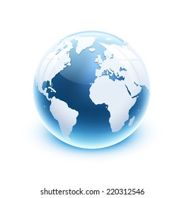 Vector illustration 3d glossy glass globe icon of the world.