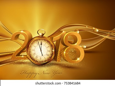 Vector illustration. 3d gold digits 2018, with an old clock instead of zero on a background of abstract golden waves with bubbles Festive background for the new year.