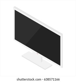 Vector illustration 3d isometric perspective new modern blank white monitor isolated on white background. lcd tv monitor