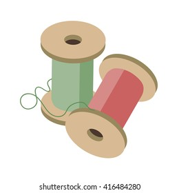 Vector illustration of 3d isometric, sewing thread, for web and infographicsCouple isomeric coils with sewing threads of red and green on a white background