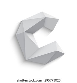Vector illustration of 3d letter C on white background. Logo or icon design. Abstract template element. Low poly style sign. Polygonal font element with shadow. Decorative origami symbol.