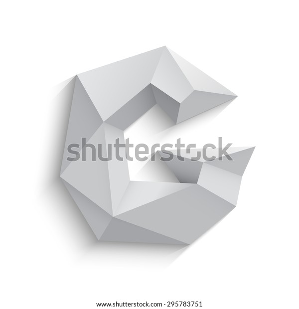 Vector illustration of 3d letter G on white background. Logo or icon design. Abstract template element. Low poly style sign. Polygonal font element with shadow. Decorative origami symbol.