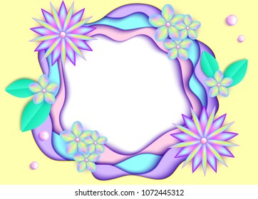Vector illustration of 3d paper art background.Template for your design