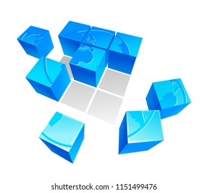 vector illustration of 3D puzzle of the earth map consisting of blue cubes