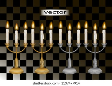 Vector illustration of 3D realistic candles in candelabra of gold and silver or iron, colored metal candles vintage romantichnoe lighting to put on the table and isolated on a transparent background.