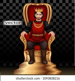 Vector illustration 3D realistic, isolated-king in the crown sits on the Golden red throne, ruler of the monarchy, symbol of power management in the Ancient state