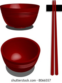 a vector, illustration for a 3d red bowl, and chopstick