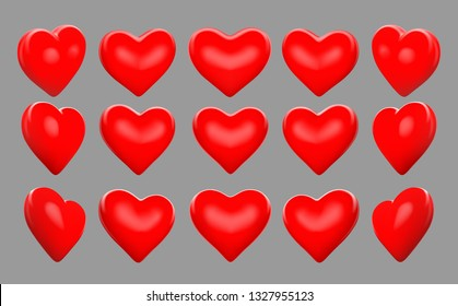 Vector Illustration, 3d red hearts rotate rotate 15 degrees