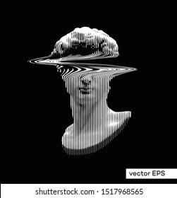 Vector illustration from 3D rendering of monochrome vertical line halftone glitch head bust from classical sculpture isolated on black background.