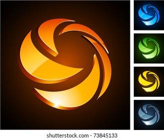 Vector illustration of 3d rotation symbols.