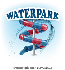 Vector illustration of 3d screw slides realistic waterpark pool aquapark aqua park splash beach umbrella bubbles and lifebuoy palm