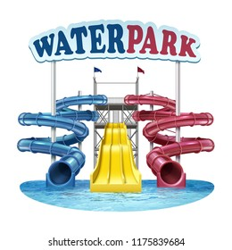 Vector illustration of 3d screw slides realistic waterpark pool aquapark aqua park splash beach bubbles