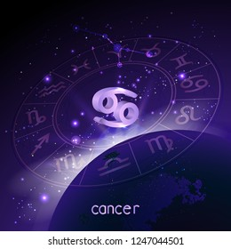 Vector illustration of 3D sign and constellation CANCER with Horoscope circle in perspective against the space background with sunrise and earth. Sacred symbols in purple colors.
