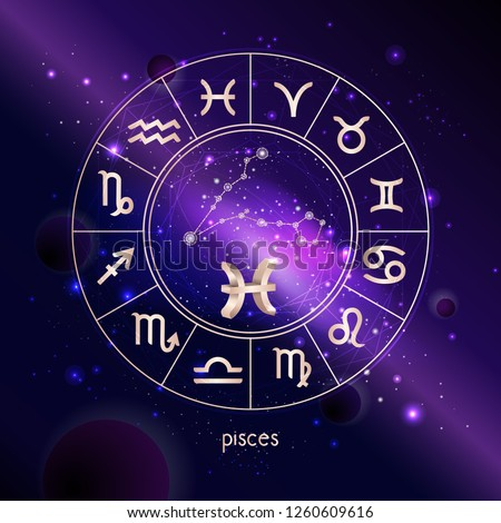 28bd3ed66 Vector illustration of 3D sign and constellation PISCES with Horoscope  circle against the space background with galaxy. Sacred symbols in gold  colors.