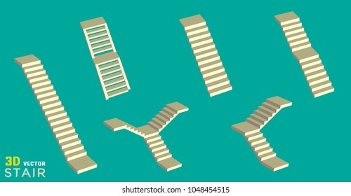 Vector illustration of 3d staircases on green background.. Stairs steps collection for graphic design element.
