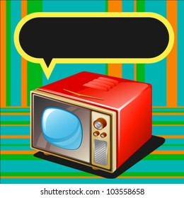Vector illustration of 3d TV with message label.