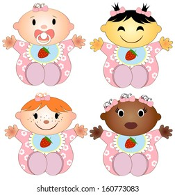 Vector Illustration 4 babies girl. Four children of the girl of different races isolated on a white background