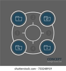 Vector Illustration Of 4 Dossier Icons. Editable Pack Of Significant, Magnifier, Recovery And Other Elements.