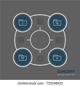 Vector Illustration Of 4 Folder Icons. Editable Pack Of Magnifier, Information, Remove And Other Elements.