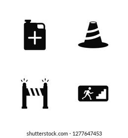 Vector Illustration Of 4 Icons. Editable Pack Jerrycan, Road blockade, Bollard, undefined.
