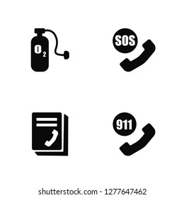 Vector Illustration Of 4 Icons. Editable Pack Oxygen, Phonebook, Sos, undefined.