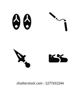 Vector Illustration Of 4 Icons. Editable Pack Sandals, Kunai, Nunchaku, undefined.