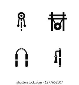 Vector Illustration Of 4 Icons. Editable Pack Bolang gu, Nunchaku, Gong, undefined.