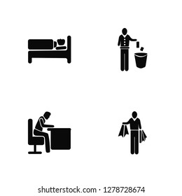 Vector Illustration Of 4 Icons. Editable Pack Man Sleeping, Snoozing, Throwing Trash, undefined.