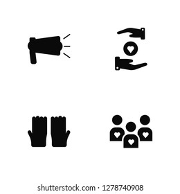 Vector Illustration Of 4 Icons. Editable Pack Awareness, Voluntary Service, Heart, undefined.