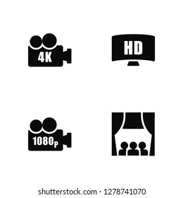 Vector Illustration Of 4 Icons. Editable Pack 4K FullHD, 1080p Full HD, undefined.