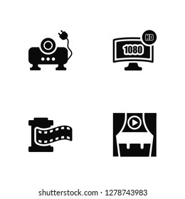 Vector Illustration Of 4 Icons. Editable Pack Image projector, Film strip, 1080p HD tv, undefined.