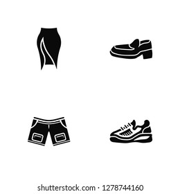 Vector Illustration Of 4 Icons. Editable Pack Slit Skirt, Denim Shorts, Leather Shoes, undefined.