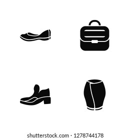 Vector Illustration Of 4 Icons. Editable Pack Loafer, Ankle Boots, Briefcase, undefined.