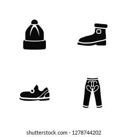 Vector Illustration Of 4 Icons. Editable Pack Winter Hat, Sleepers, Wool Boots, undefined.