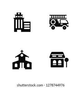Vector Illustration Of 4 Icons. Editable Pack Skyscrapper, Church, Fire truck, undefined.