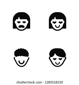 Vector Illustration Of 4 Icons. Editable Pack Miserly, Rockstar, In love, undefined.