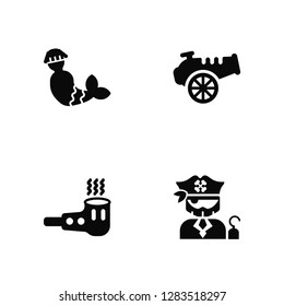 Vector Illustration Of 4 Icons. Editable Pack Mermaid, Smoking pipe, Canon, undefined.