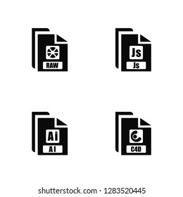 Vector Illustration Of 4 Icons. Editable Pack Raw, AI, Js, undefined.