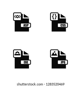 Vector Illustration Of 4 Icons. Editable Pack Asp, Exe, Css, undefined.
