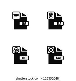 Vector Illustration Of 4 Icons. Editable Pack Jar, Obj, Fla, undefined.