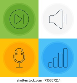 Vector Illustration Of 4 Melody Icons. Editable Pack Of Mike, Subsequent, Audio And Other Elements.