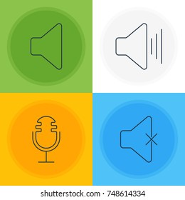 Vector Illustration Of 4 Music Icons. Editable Pack Of Speaker, Soundless, Mike And Other Elements.